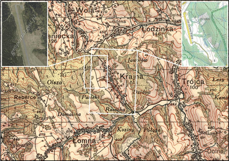 Rys. 1. Porównanie sytuacji przedstawionej na historycznej mapie WIG z opracowaniami współczesnymi: ortofotomapą (po lewej) i mapą turystyczną (po prawej). Widok na nieistniejącą wieś Krajna, na której obszarze obecnie znajduje się pas startowy wykorzystywany w czasach PRL jako lotnisko ośrodka rządowego w Arłamowie (opracowanie z zastosowaniem funkcji Extent Indicator w aplikacji ArcMap).
