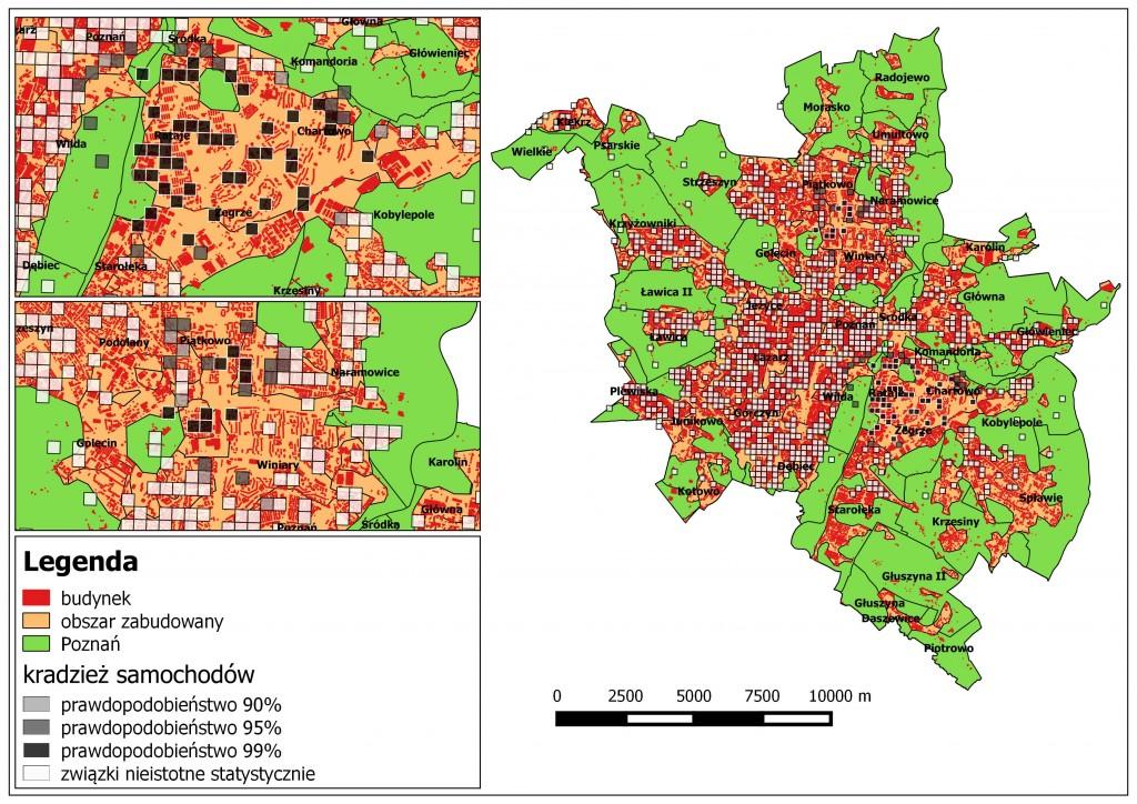 Ryc. 1. Rozkład przestrzenny kradzieży samochodów o różnym prawdopodobieństwie na tle obszarów zabudowanych w Poznaniu (na podstawie danych Komendy Miejskiej Policji w Poznaniu oraz BDOT).