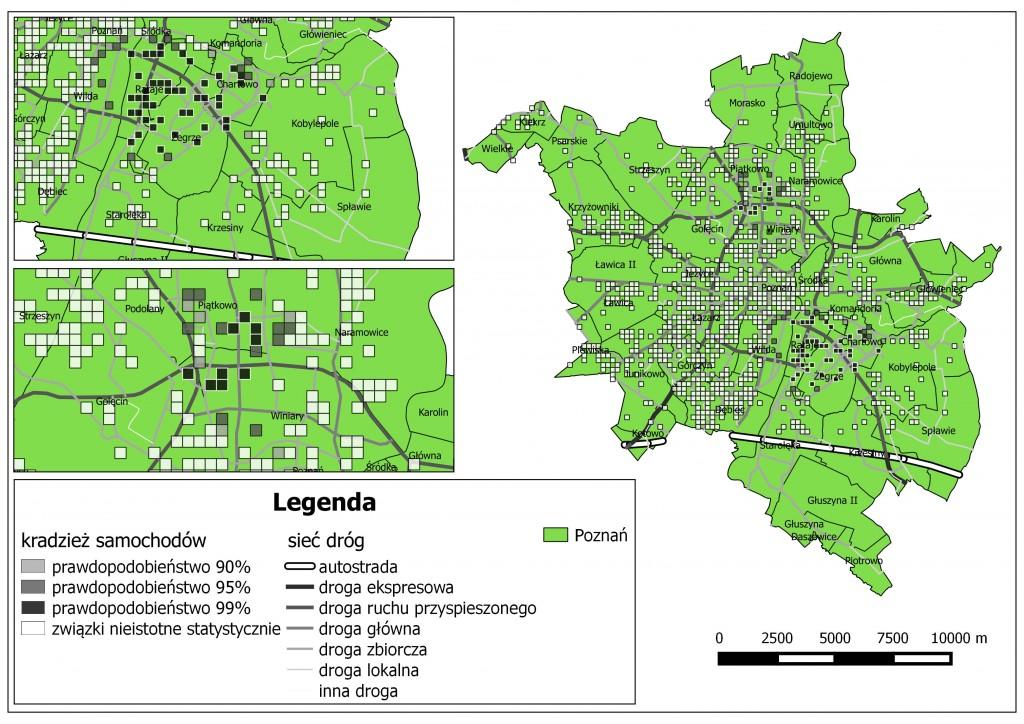 Ryc. 2. Rozkład przestrzenny kradzieży samochodów o różnym prawdopodobieństwie na tle sieci drogowej Poznania (na podstawie danych Komendy Miejskiej Policji w Poznaniu oraz BDOT).