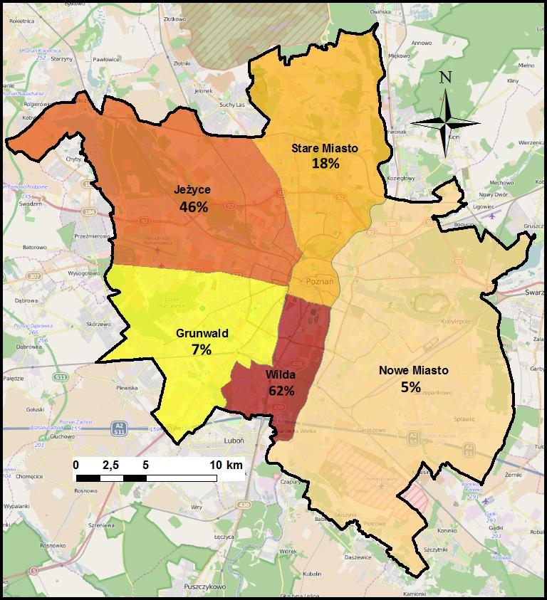 Ryc. 3. Mapa percepcji dzielnic niebezpiecznych według procentowej ilości wskazań respondentów