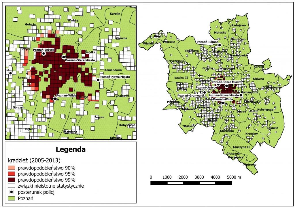 Ryc. 5. Analiza lokalizacji komisariatów, a kradzieże w latach 2005 - 2013 (na podstawie danych Komendy Miejskiej Policji w Poznaniu).