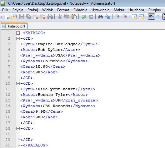 Rys. 1. Dokument XML zawierający strukturę danych katalogu płyt CD. Dokumenty XML można edytować w każdym edytorze tekstowym, w tym przypadku jest to aplikacja Notepad++.
