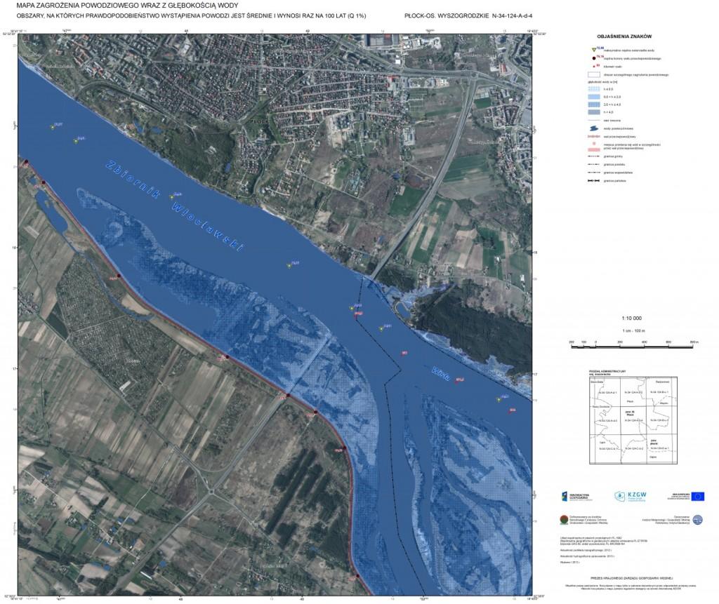 Rys. 1. Wizualizacja mapy zagrożenia powodziowego wykonana w oprogramowaniu ArcGIS (źródło: IMGW PIB Centrum Modelowania Powodzi i Suszy w Poznaniu).