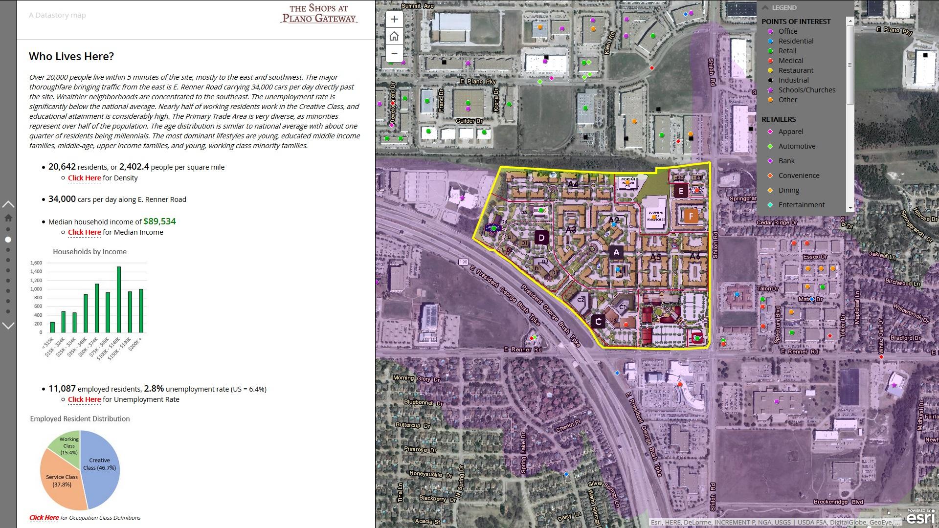 Rys. 2. David Hicks wykorzystuje interaktywne Story Maps do pokazania nieruchomości, którymi się zajmuje, wyróżniając tym samym swój biznes. Nie musi niczego programować, po prostu opowiada historię.