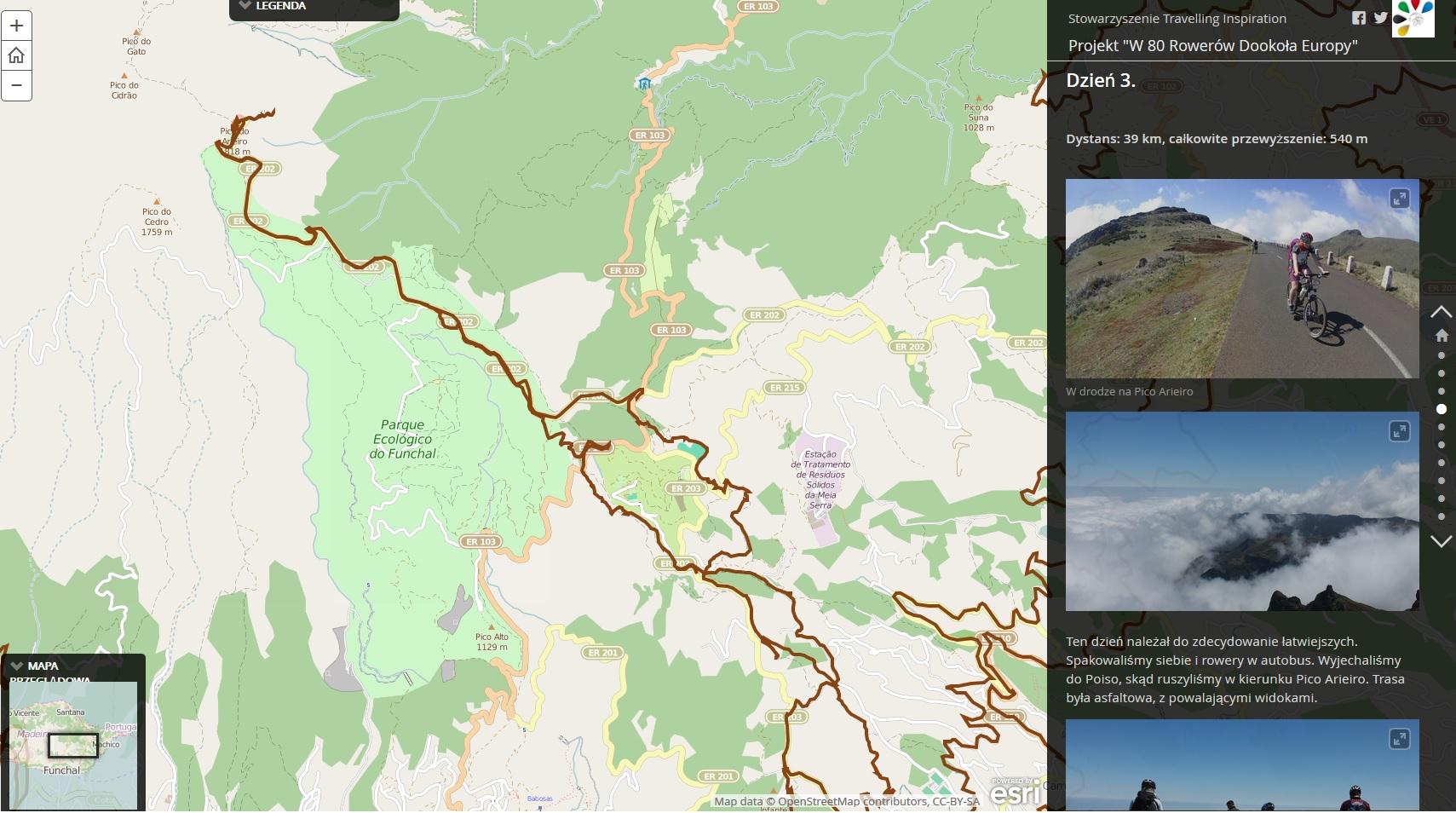 Rys. 2. Zrzut z aplikacji Map Journal Esri. Ślad GPS z wycieczki na Pico de Arieiro (Madera, Portugalia)