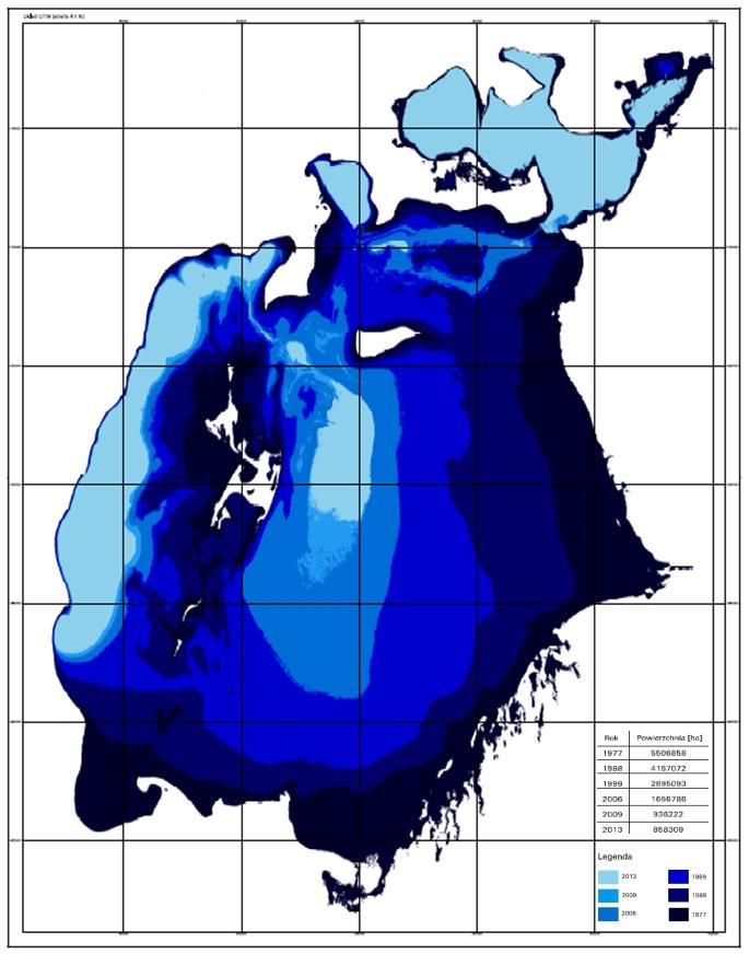 Teledetekcja: Mapa zmian zasięgu Jeziora Aralskiego