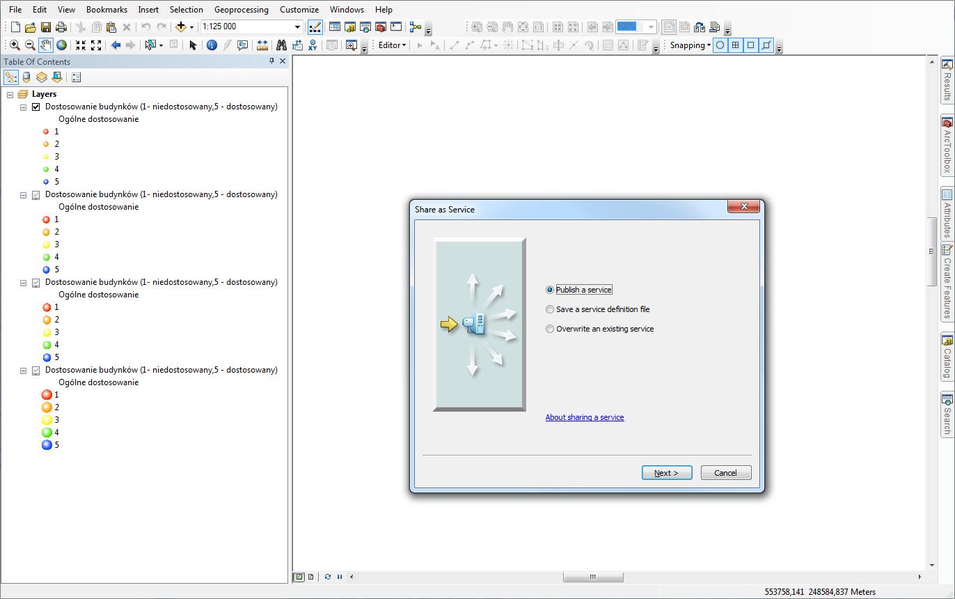 Rys. 1. Publikacja serwisu mapowego z usługą obiektową w ArcMap