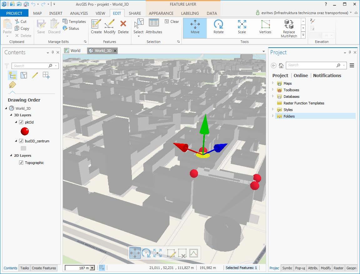 Rys. 2. Narzędzie do przemieszczania obiektów w 3D.