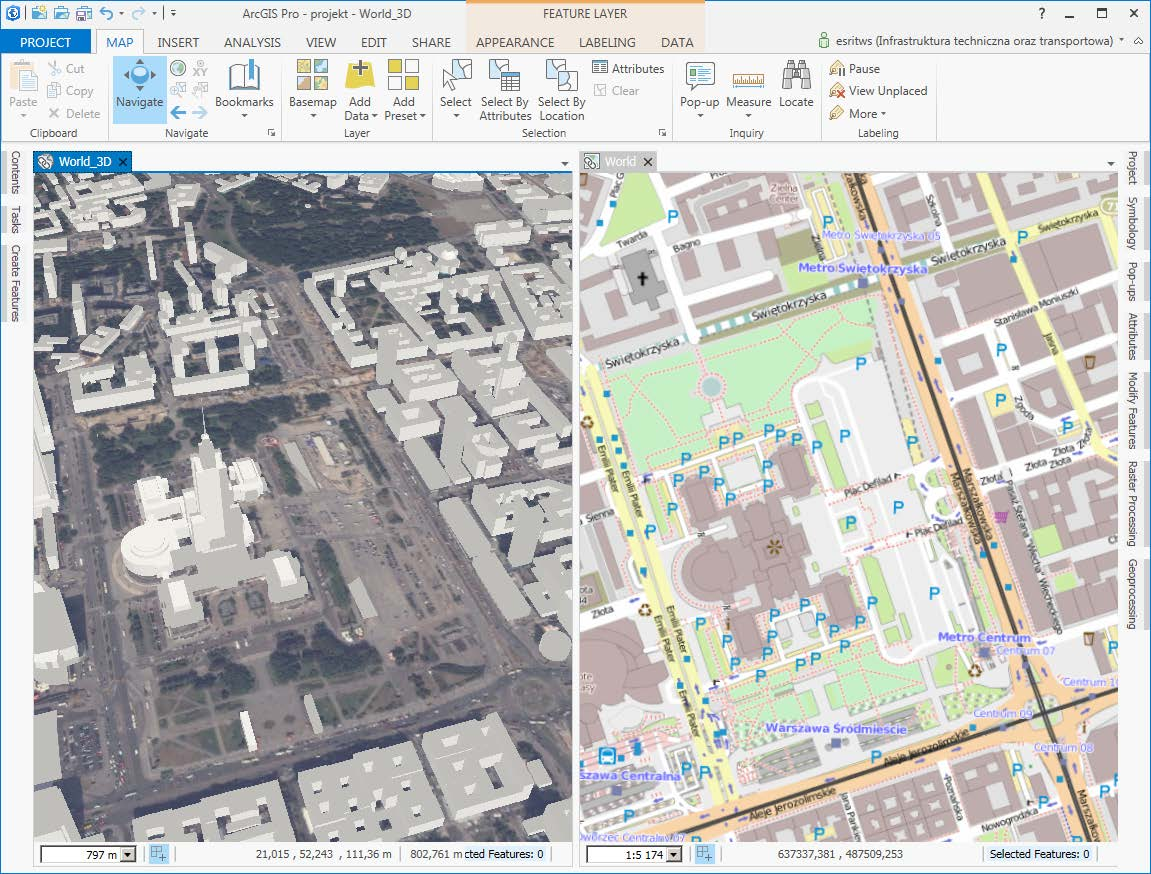 Rys. 3. Dwie mapy w jednym oknie aplikacji.