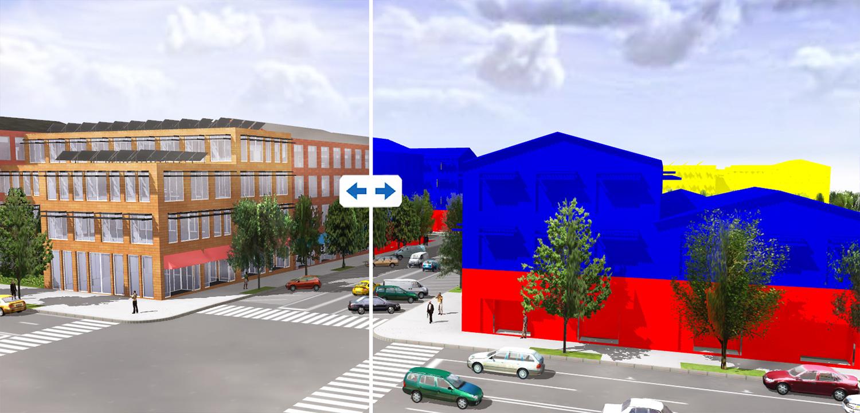 Rys. 3. Przykład jednej z analiz, które można przeprowadzić przy uzyciu CityEngine - różna funkcjonalność budynków rzeczywistych