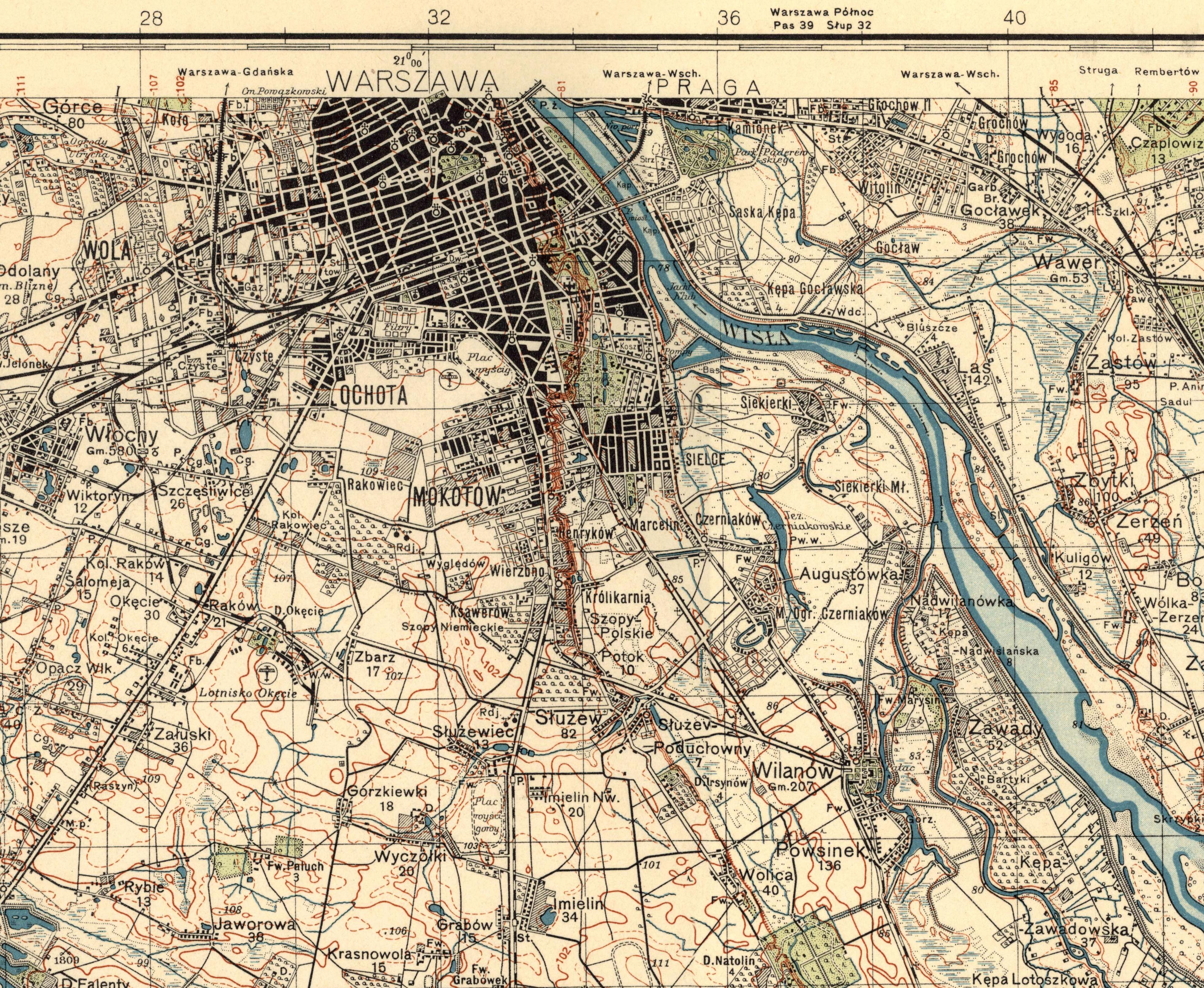 Rys. 5. Mapa topograficzna WIG w skali 1:10 000 z 1932 roku