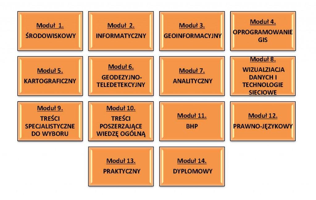 Rys. 1. Moduły tematyczne na kierunku geoinformacja środowiskowa.