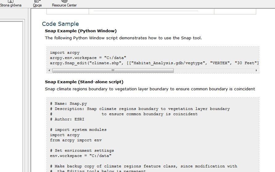 Rys. 3. Okno pomocy narzędzia – widoczny przykład użycia w kodzie.