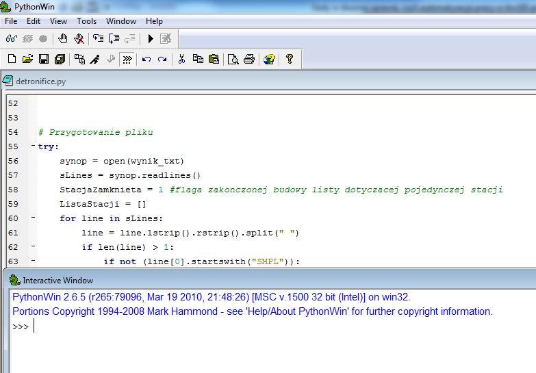 Rys. 4. PythonWin – interfejs i fragment kodu z widocznym formatowaniem.