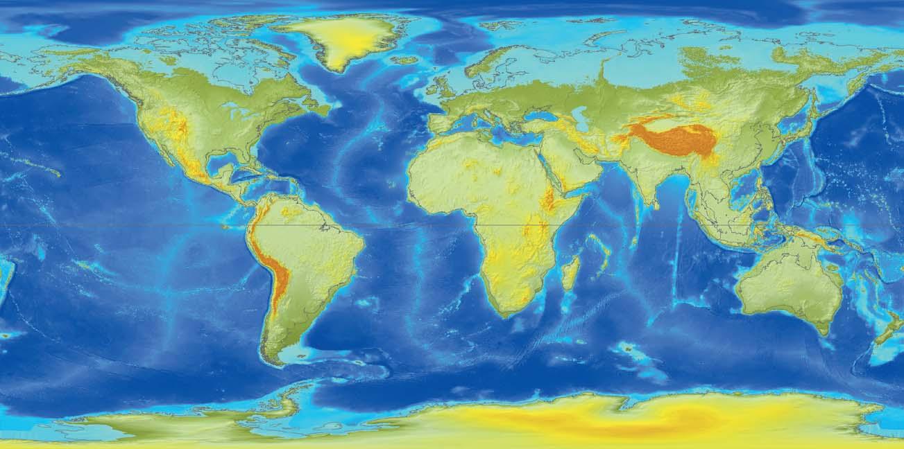 """Ryc. 6. W miarę jak zmniejsza się siła odśrodkowa, masy wód oceanicznych odpływają z regionu równikowego i gromadzą się na obszarach polarnych. Jest to wyraźnie widoczne poprzez zalewanie nizin Syberii, północnej Rosji i Kanady z jednej strony i poprzez """"wysychanie"""" płytkich mórz w Azji Południowo-Wschodniej i Północnej Australii."""