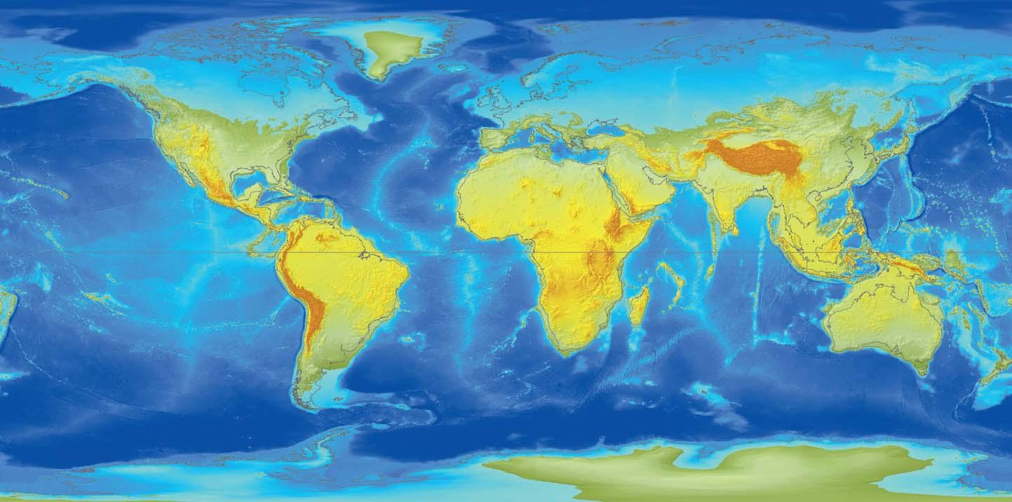 Ryc. 7. Pogłębianie się wód wokół stref podbiegunowych powoduje dalszą ekspansję oceanów na północne niziny Eurazji i Ameryki. Antarktyda i Grenlandia, pomimo dotychczasowej znacznej wysokości nad poziom morza, wyraźnie ustępują napierającym oceanom. Największy zbiornik słodkiej wody, Wielkie Jeziora Amerykańskie, zostaje pochłonięty przez ocean.