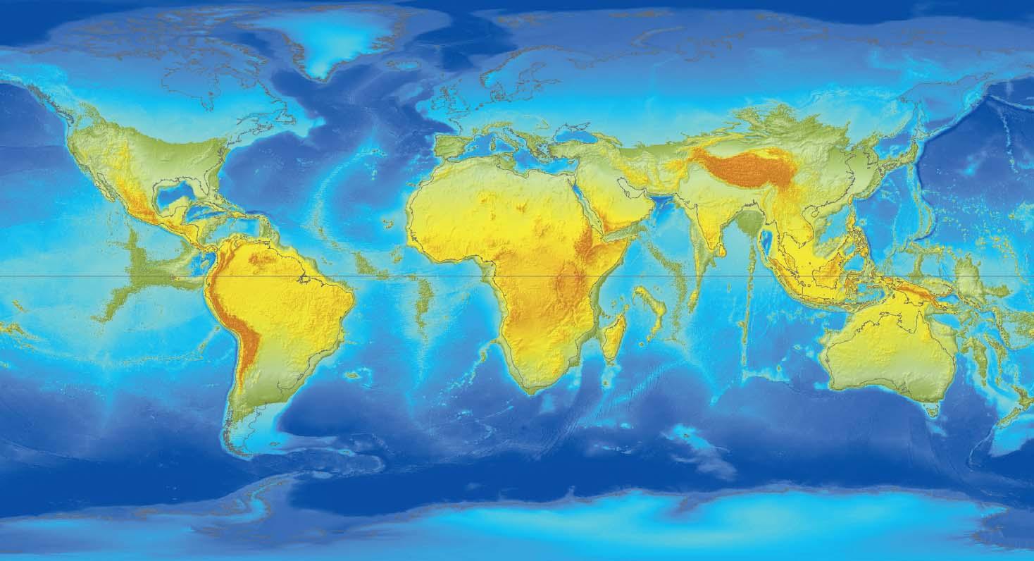 Ryc. 8. Cała Antarktyda znajduje się już pod wodą. Obszary lądowe strefy międzyzwrotnikowej wyraźnie rozszerzają się. Powstają nowe wyspy, a np. środkowa część Grzbietu Środkowoatlantyckiego wynurza się w postaci łańcucha górskiego o szybko zwiększającej się wysokości. Zanika Morze Czerwone.