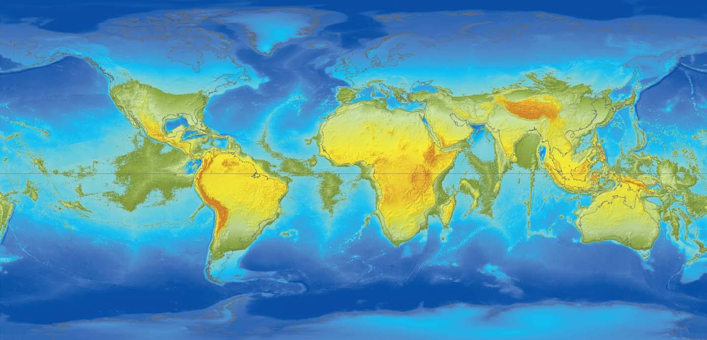 Ryc. 9. Prawie cała Europa, podobnie jak Rosja i Kanada, znalazła się pod wodą. Wysycha stopniowo Zatoka Bengalska. Z Madagaskaru można by już przejść do Afryki. W terenach większych obniżeń dna oceanicznego (lokalnych depresji) zostają odcięte morza śródlądowe.