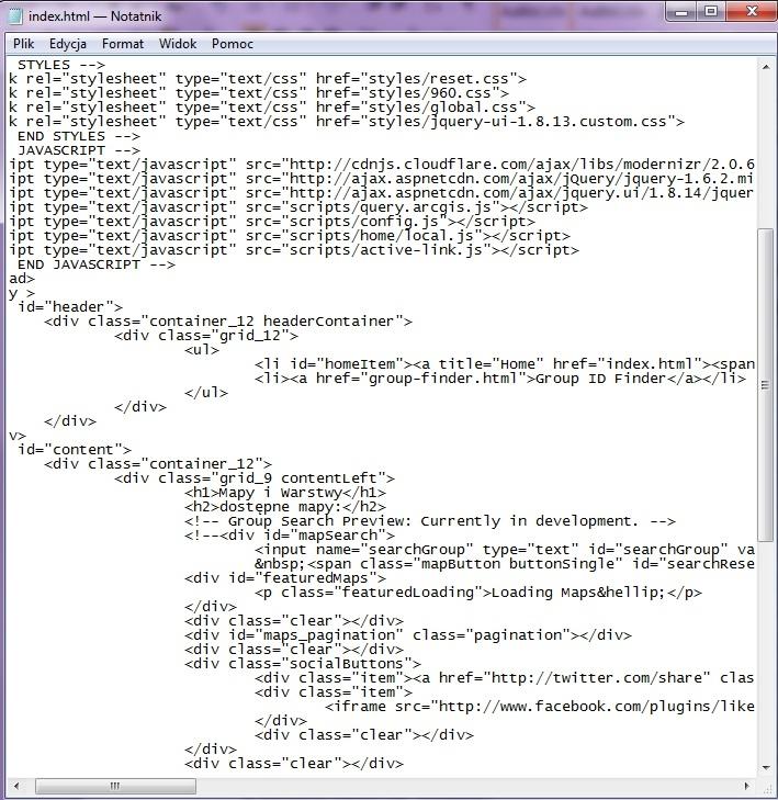 Rys. 2. Aby zmienić treść plików index.html i global.css, użyj prostego edytora tekstów, np. Notatnika.