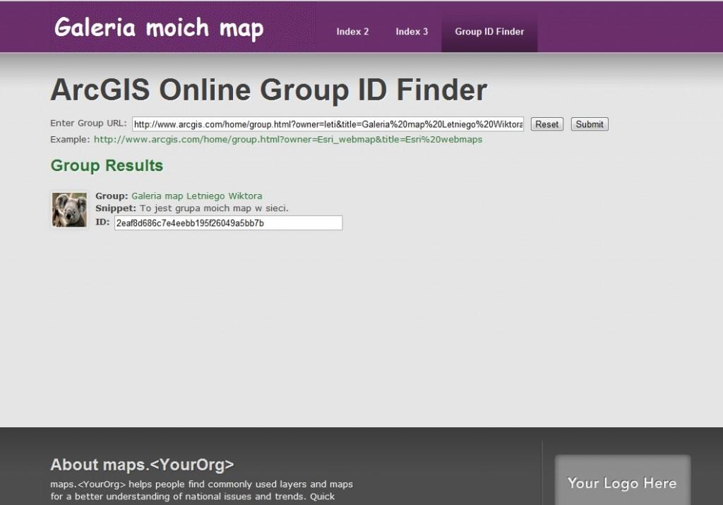 Rys. 7. Użyj narzędzi zawartych w szablonie, aby znaleźć ID grupy (Group ID) i umieścić je jako zmienną mapsGroupID w pliku config.js. W ten Sposób zsynchronizujesz swoje zasoby map z Twoją galerią map.