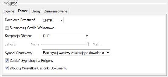 """Ryc. 5. Opcje eksportu do PDF - zakładka """"Format""""."""