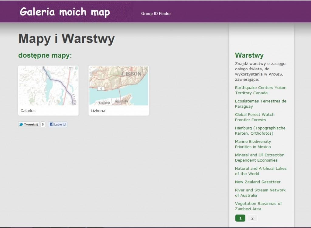 Rys. 8. Łącza paczek warstw również mogą być dodawane do Twojej galerii map i z nią zsynchronizowane. Teraz za każdym razem, gdy dodasz do zasobów (My Content) nowe mapy lub paczki warstw, będą one automatycznie wyświetlane w Twojej galerii map.