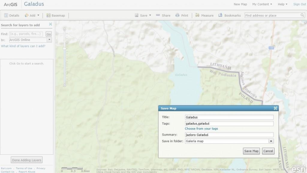 Rys. 4. Do własnej galerii map możesz dodać swoją mapę utworzoną w sieci, mapy utworzone przez innych i udostępnione w ArcGIS Online, a także inną zawartość dostępną w ArcGIS Online.