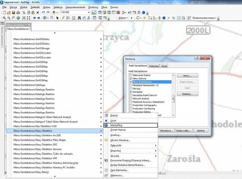 Rys. 4. Edycja menu kontekstowego klasy obiektów (widoczne jest dodane polecenie).