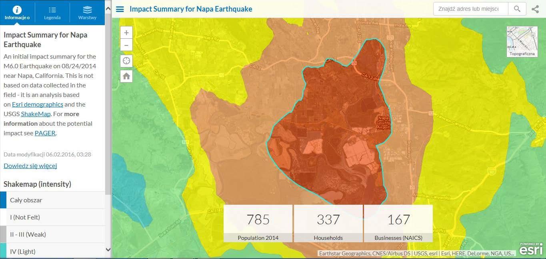 Rys. 1. Interaktywna mapa ukazująca skutki trzęsienia ziemi