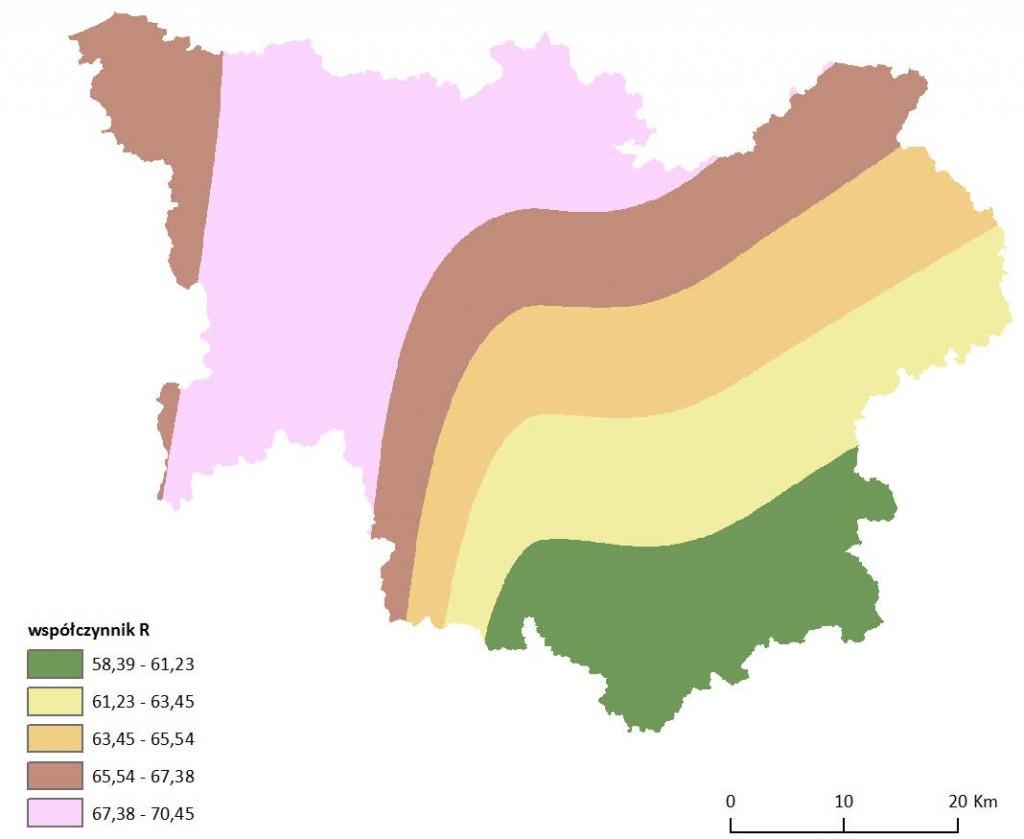 Ryc. 2 Mapa wartości wskaźnika erozyjności opadu R dla obszaru dorzecza Parsęty
