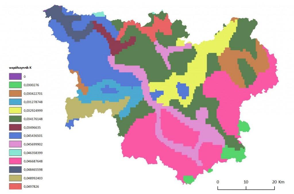 Ryc. 3 Mapa wartości wskaźnika podatności gleb na erozję K dla obszaru dorzecza Parsęty