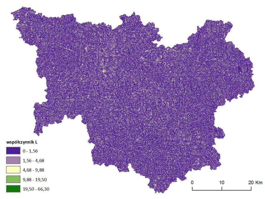Ryc. 5 Mapa wartości wskaźnika długości stoku L dla obszaru dorzecza Parsęty