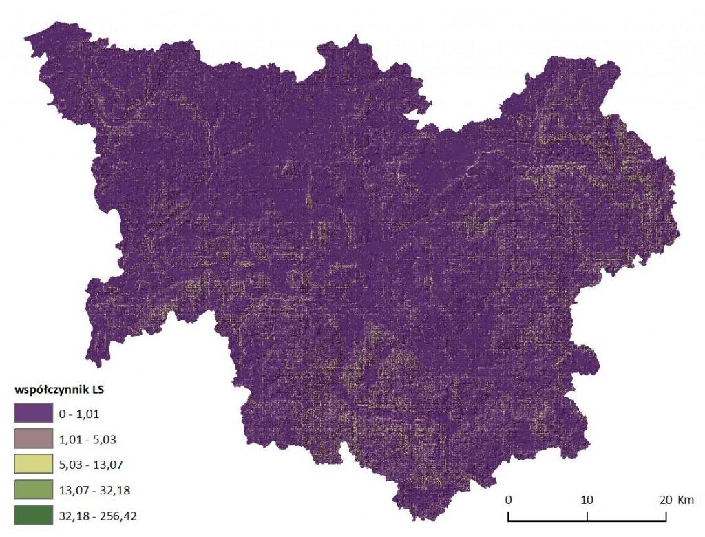 Ryc. 6 Mapa wartości wskaźnika topologicznego LS dla obszaru dorzecza Parsęty