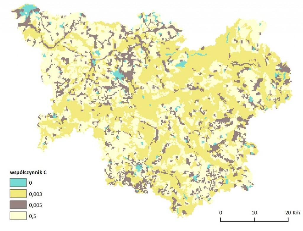 Ryc. 7 Mapa wartości wskaźnika ochronnej roli pokrywy roślinnej C dla obszaru dorzecza Parsęty