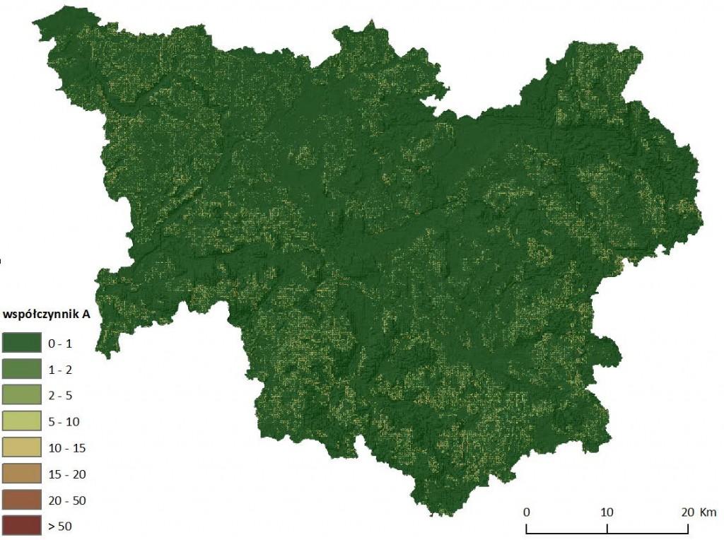 Ryc. 9 Mapa wartości wskaźnika średniej rocznej masy gleby wyerodowanej [t/(ha*rok)] z jednostki powierzchni dla dorzecza Parsęty