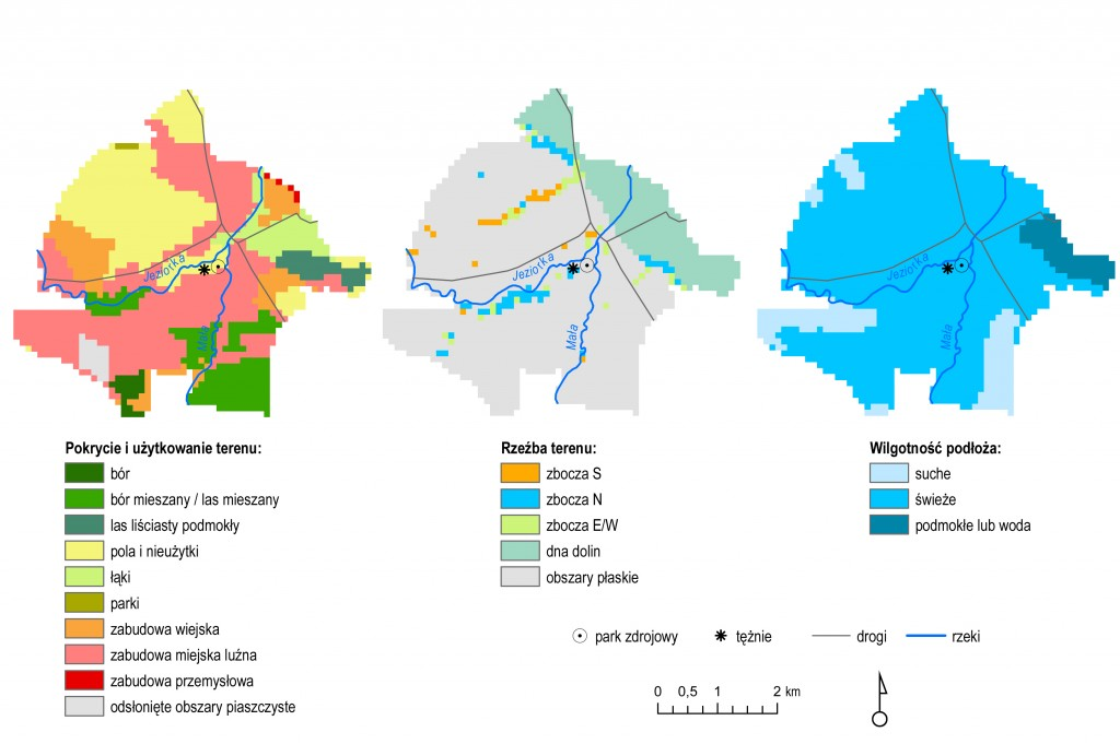 Rys. 1. Pokrycie i użytkowanie terenu, rzeźba terenu oraz wilgotność podłoża w uzdrowisku Konstancin.