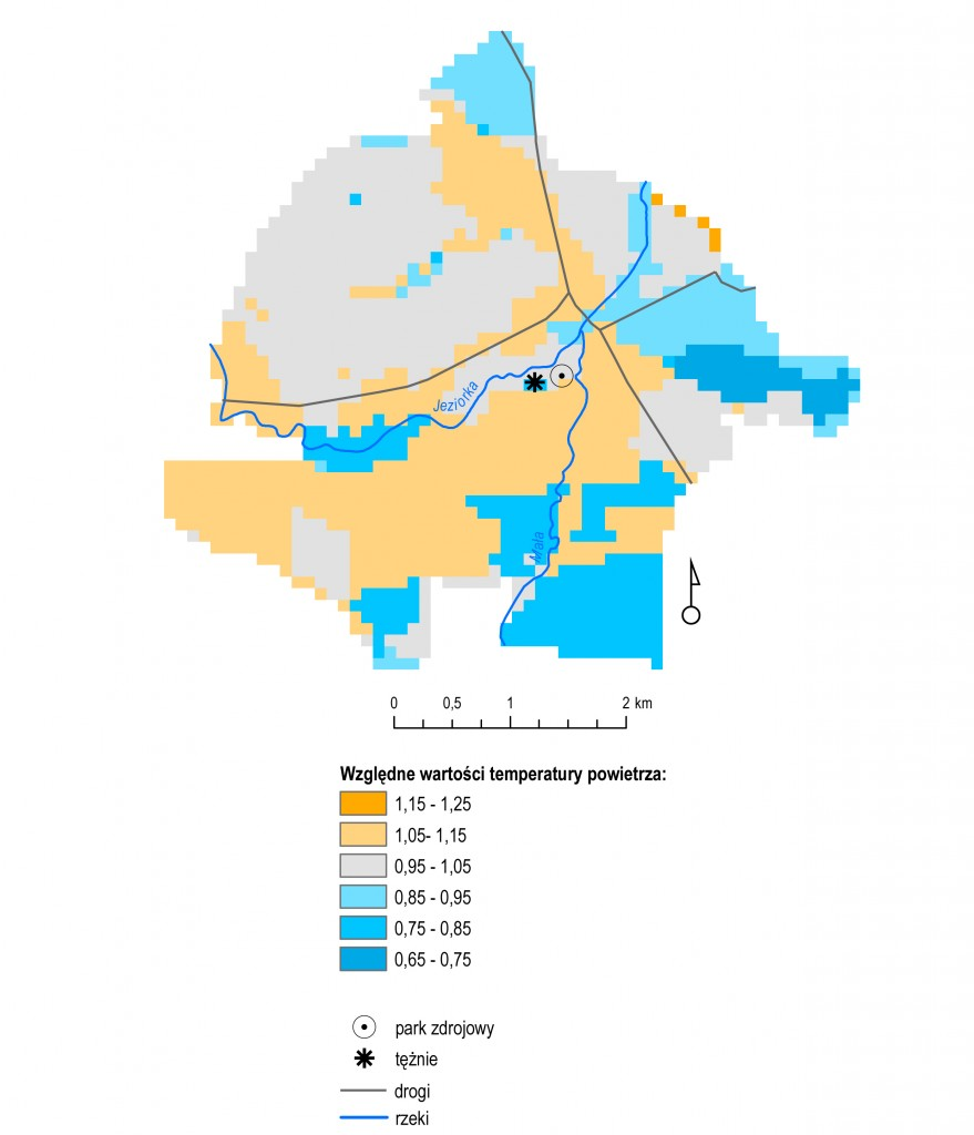 Rys. 2. Wartości względne temperatury powietrza w uzdrowisku Konstancin w stosunku do lokalnej stacji meteorologicznej.