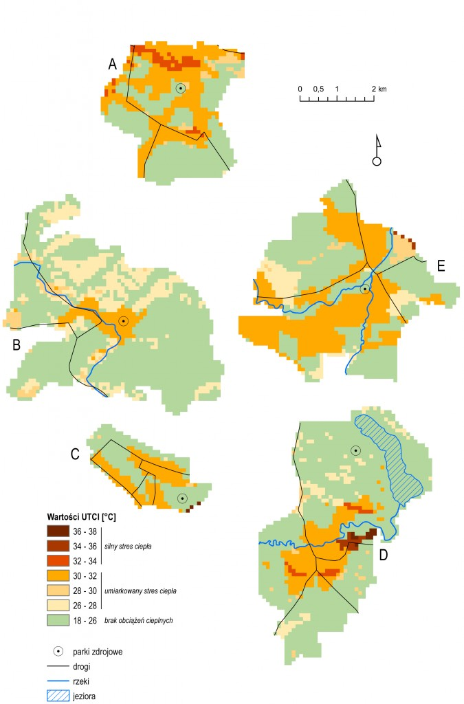 Rys. 3. Wartości UTCI w uzdrowiskach: Gołdap (A), Świtoujście (B), Konstancin (C), Lądek Zdrój (D), Dusko-Zdrój (E).