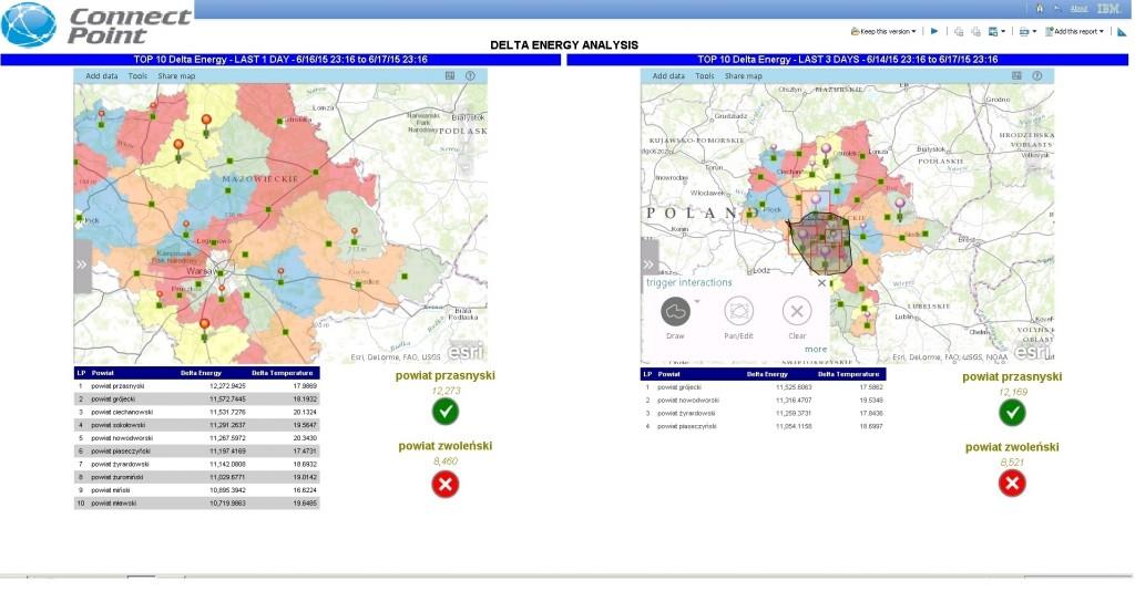 Rys. 2. Raport stworzony w oparciu o dane rzeczywiste i mapy Esri