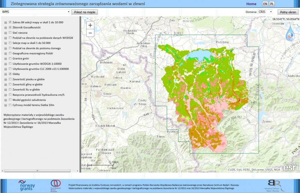 Rys. 3. Charakterystyka gleb przygotowana dla analizowanego obszaru dostępna w usłudze WMS.