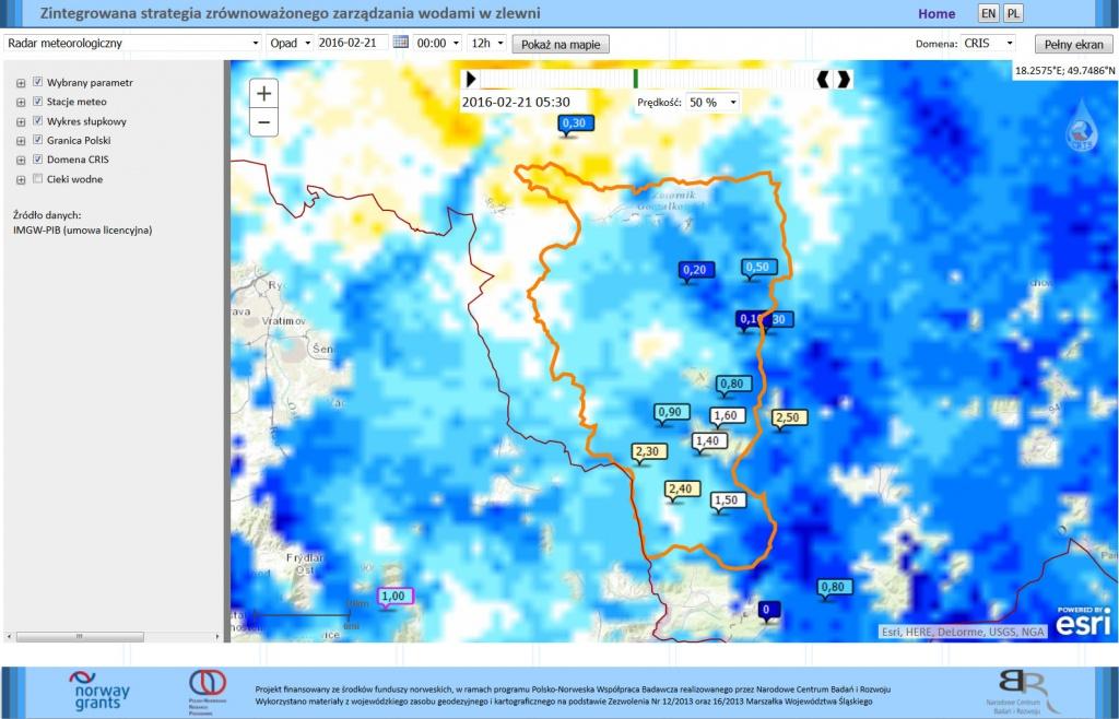 Rys. 4. Usługa obrazująca opad atmosferyczny w oparciu o dane pochodzące z radaru w Ramży.