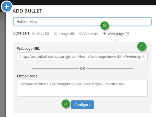 Rys 5 Dodaj przeglądarkę map ArcGIS Online do twojej Story Map