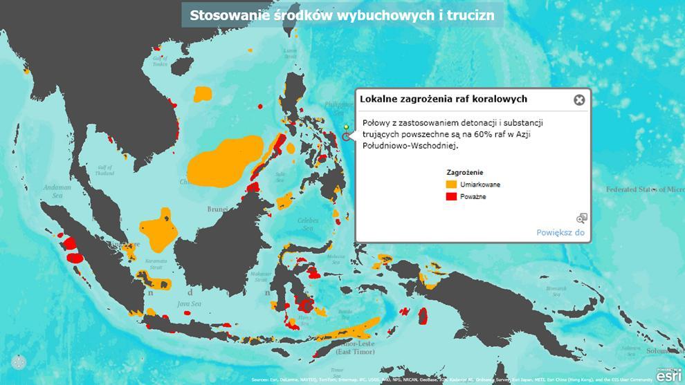 Rys. 1. Obszary w kolorze pomarańczowym (zagrożenie bardzo wysokie) oraz czerwonym (zagrożenie krytyczne) to rejony najbardziej intensywnego rybołówstwa przy użyciu środków wybuchowych.
