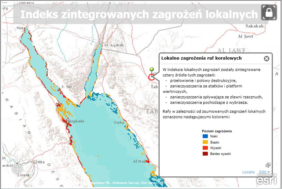 Rys. 2. Mapa skumulowanych zagrożeń lokalnych dla północnej części Morza Czerwonego.