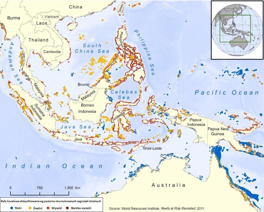 Rys. 4. Istnienie raf koralowych Azji Południowo - Wschodniej, będących jednocześnie najbogatszymi pod względem liczby gatunków koralowców, jest najbardziej zagrożone. Spośród dużych i znanych raf największe szanse na długie przetrwanie ma Wielka Rafa Koralowa.