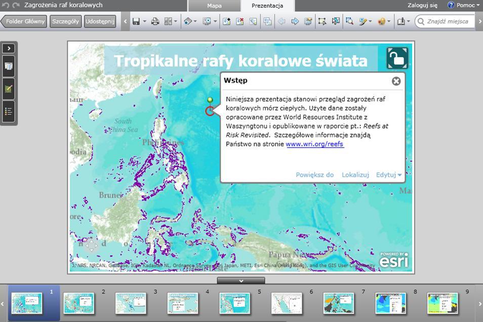 Rys. 2. Kolorem fioletowym zaznaczono rozmieszczenie raf koralowych. Otwarty symbol kłódki w prawym górnym rogu mapy informuje, że mapę można przesuwać, powiększać oraz zmniejszać. Klikniecie na szpilkę spowoduje ukazanie się dodatkowego tekstu.
