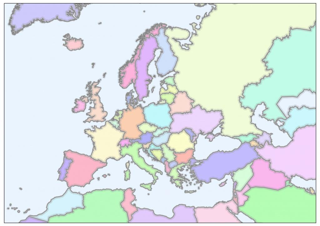Ryc. 1B. Rysunek przedstawia te same dane co na rysunku 1A w odwzorowaniu Albertsa - odwzorowaniu równopowierzchniowym z parametrami optymalizującymi zniekształcenia powierzchni dla całej Europy.