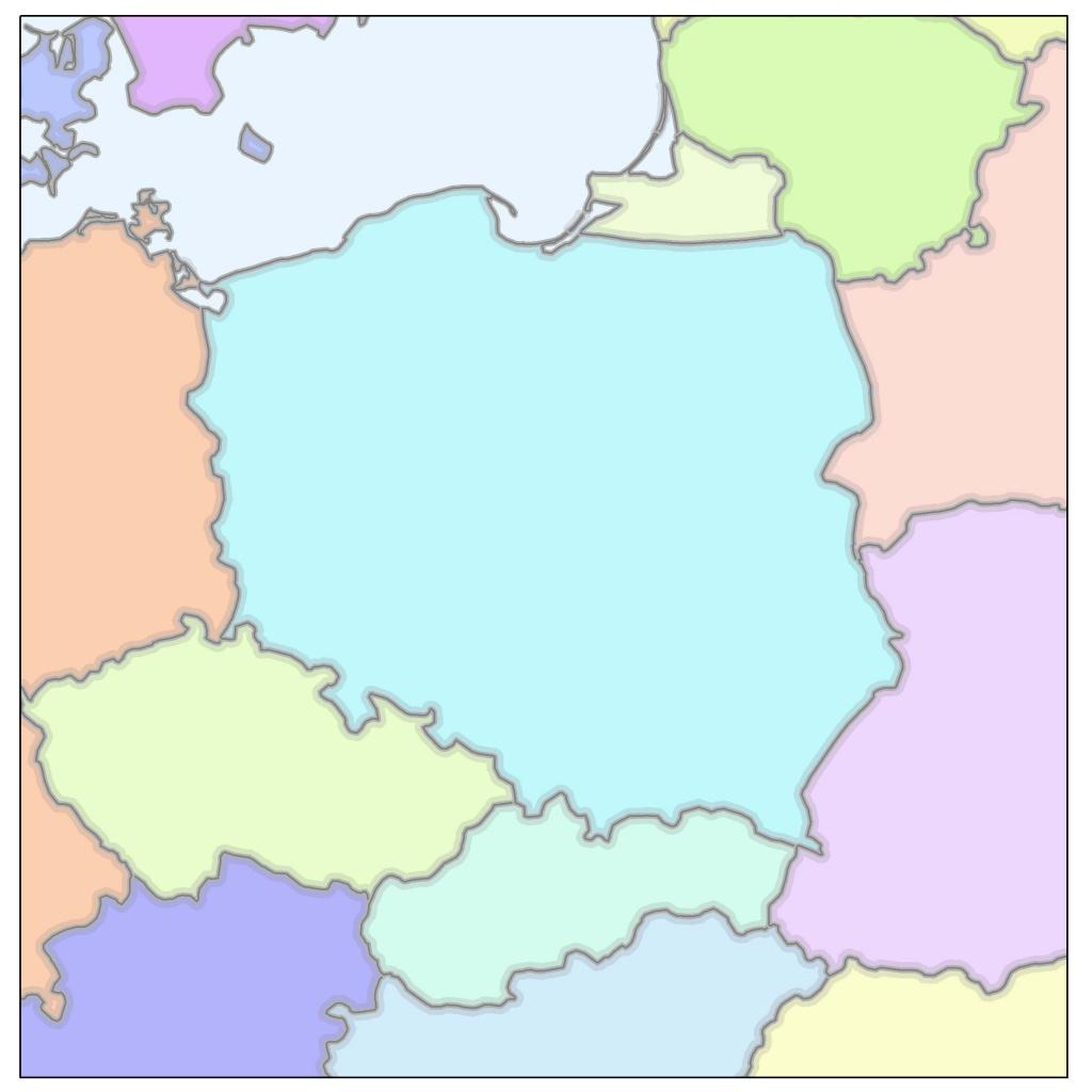 Ryc. 1C. Rysunek przedstawia kontur Polski w najpowszechniej ostatnio wykorzystywanym układzie współrzędnych odwzorowanych PUWG 1992, który optymalizuje zniekształcenia w granicach państwa polskiego.