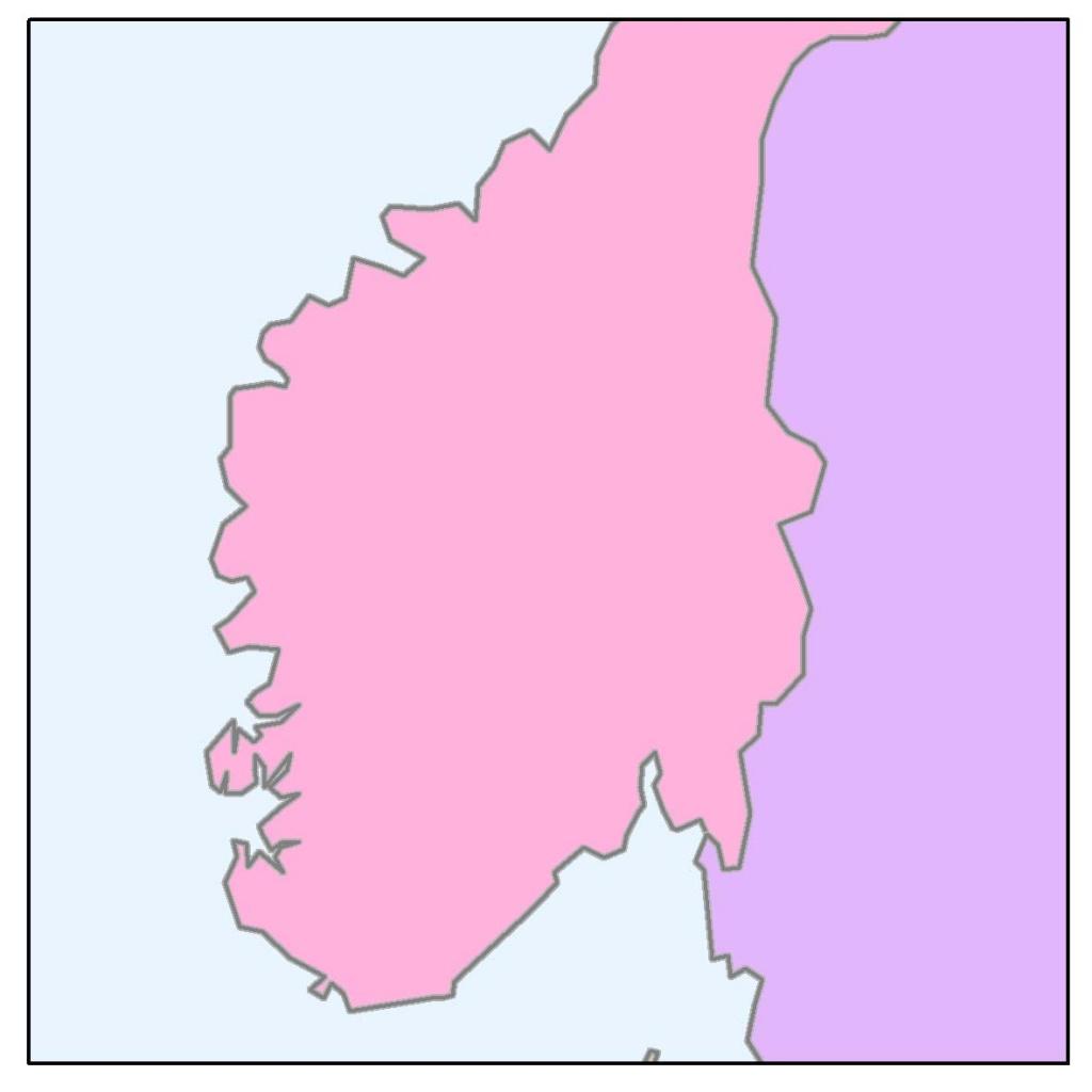 Rys. 2D. Zakrzywione (meandrujące) linie pozwalają określić, czy dane nie są zbyt zgeneralizowane w stosunku do docelowej skali mapy.