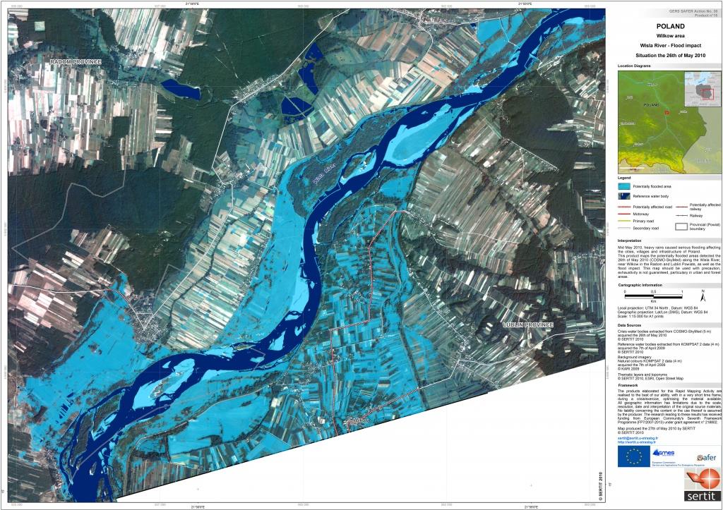 Rys. 1. Mapa zasięgu powodzi dostarczona przez SAFER, opracowana na podstawie zobrazowania wysokorozdzielczego (5 m) COSMO-SkyMed pozyskanego 26 maja 2012 roku dla obszaru gminy Wilków (powiat lubelski).